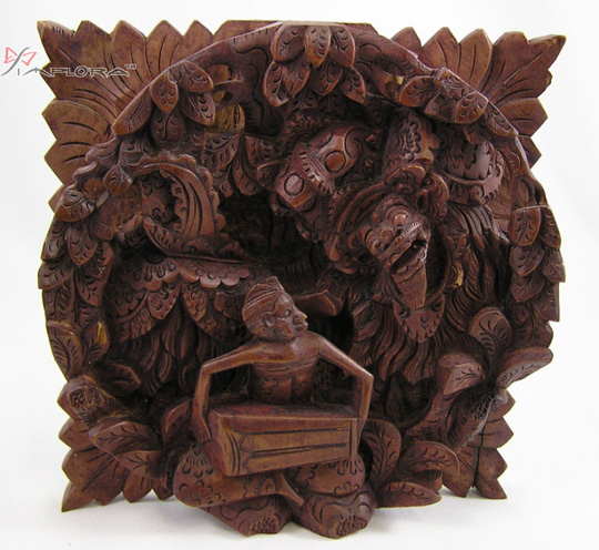 Others Wall Panel Wood Carving 3D Relief Barong Dance