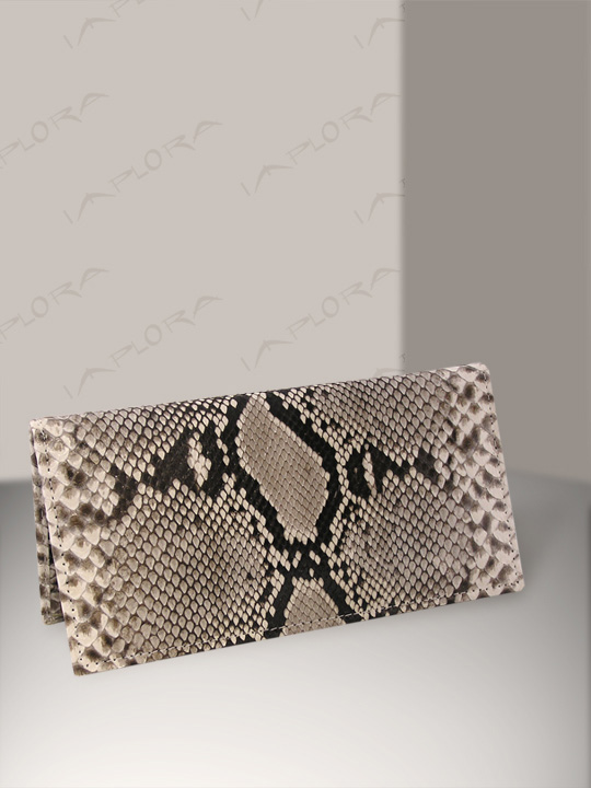 Leather Implora Natural Python Checkbook Cover