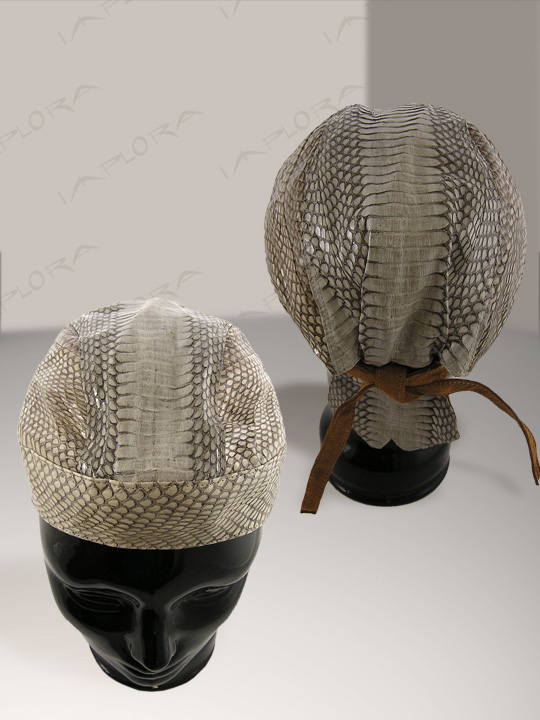 Natural Cobra Snakeskin Doorag Head Wrap Leather inlay