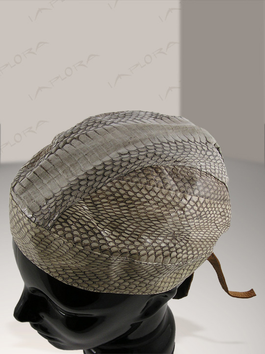 Leather Natural Cobra Snakeskin Biker Head Wrap Cloth Inlay