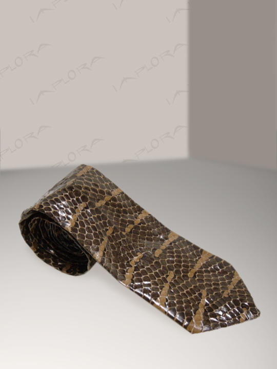Implora Brown Mangrove Snake Skin Tie