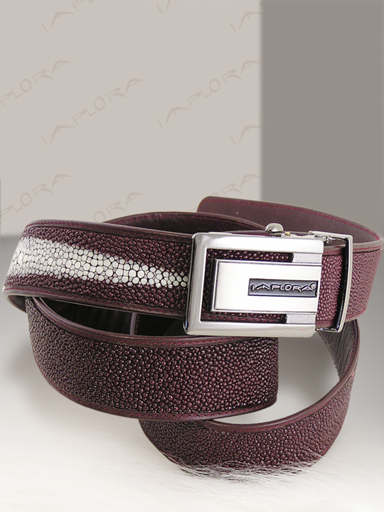 Implora Burgundy Stingray Leather Belt
