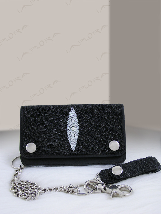 Stingray Leathers Implora Black Stingray Skateboard Chain Wallet