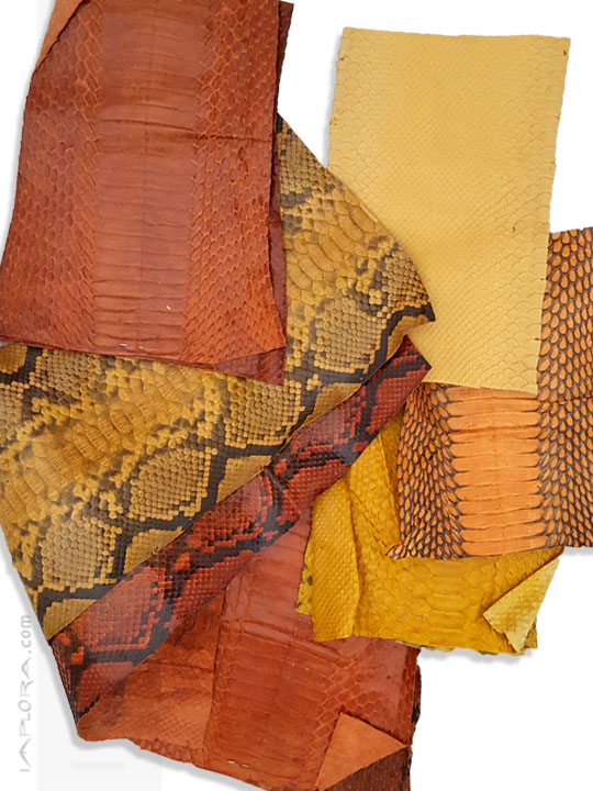 Leather  Snake Skin Scraps Pieces Assorted Yellow Orange