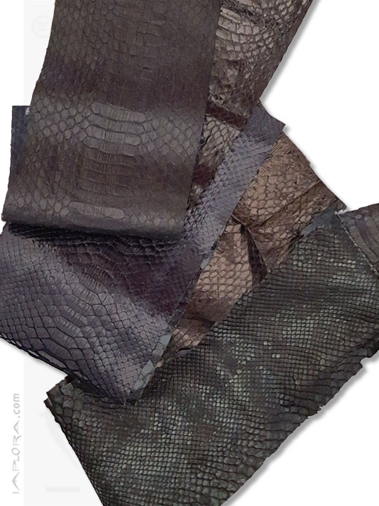 Leather Snake Skin Scraps Pieces Assorted Black Dark Colors