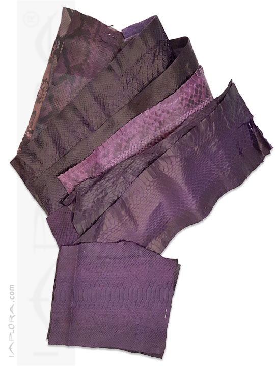Leather Snakeskin Scraps Purple Violet Assorted Color