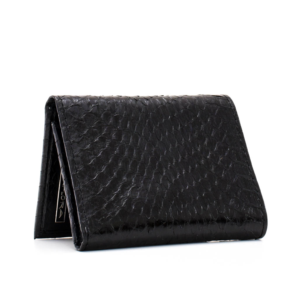 Leather Implora Black Cobra Trifold Wallet