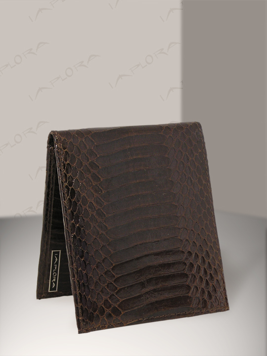 Leather Implora Brown Cobra Snakeskin Bifold Belly