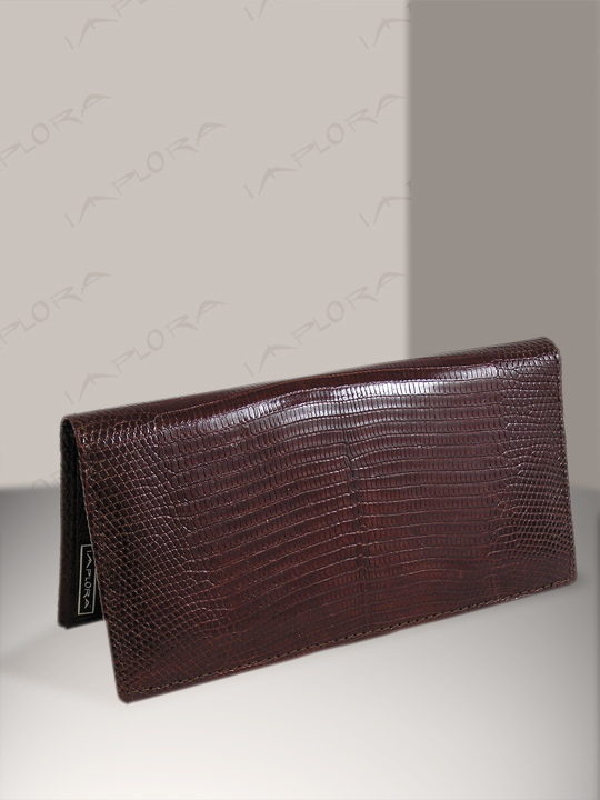 Implora Brown Monitor Lizard Checkbook Wallet, Bly