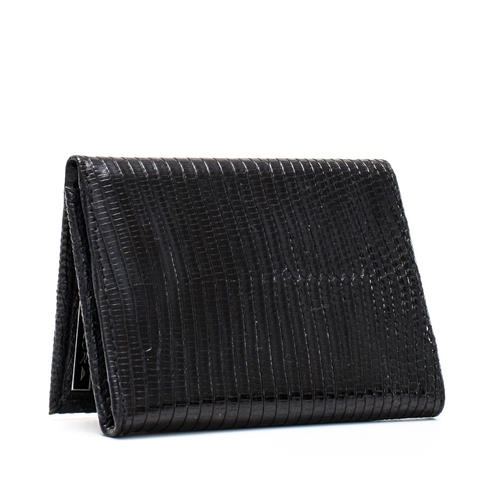 Leather Implora Black Monitor LizardTrifold Wallet