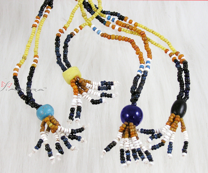 Others Genuine Old Dayaknese Stone and Glass Beads Necklace