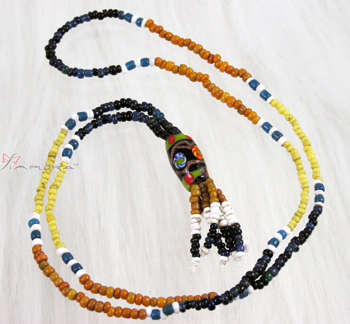 Genuine Dayaknese Stone and Glass Beads Necklace