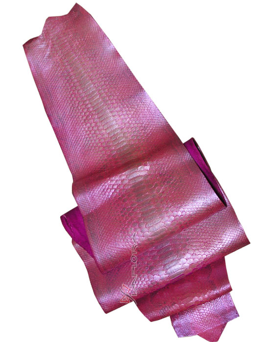Leather Pink Pearl-Finished Python Snakeskin Belly