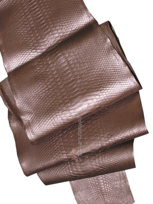 Leather Solid Bronze Metallic Python Snakeskin Belly