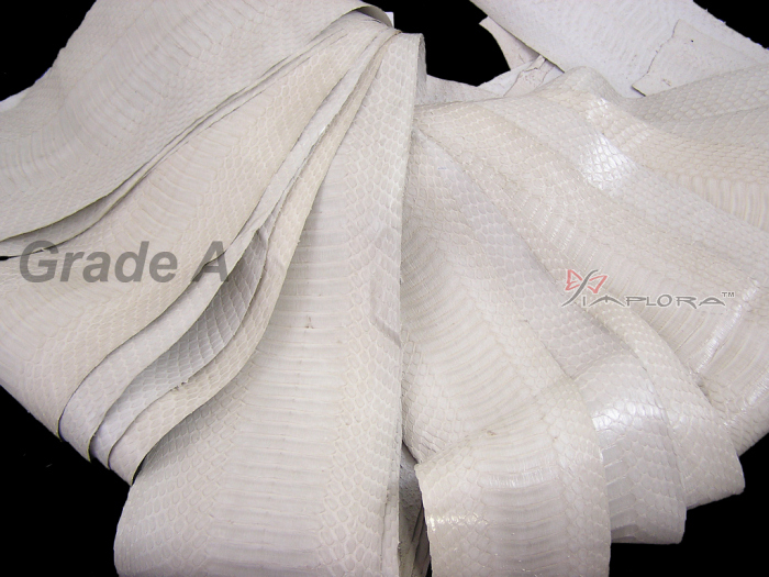 Leather Implora Off-White Cobra Snake Skin Hide Belly