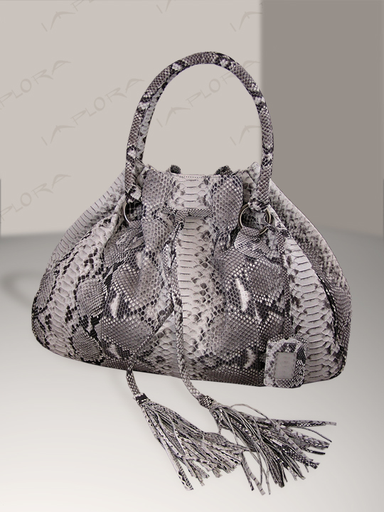 Implora Natural Python Hobo Style Bag Large
