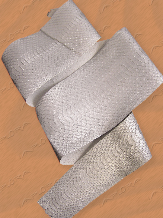 Leather Implora Silver Cobra Snakeskin Belly