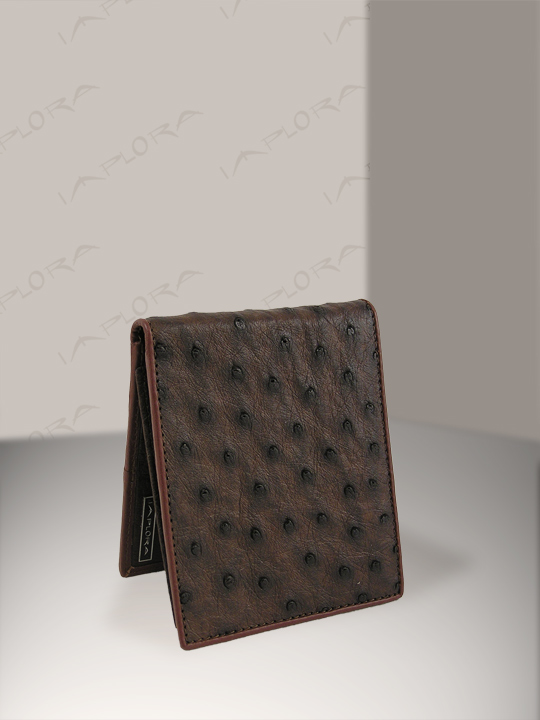 Ostrich Leathers Implora Ostrich Bifold Slim Wallet Dark Brown