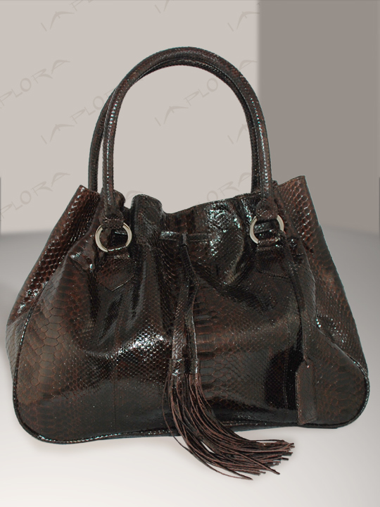 Leather Implora Cognac Brown Python Hobo Style Bag Large