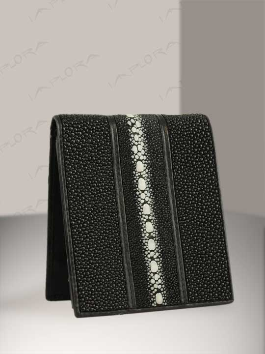 Stingray Leathers Implora Long Pearl Black Stingray Billfold Wallet