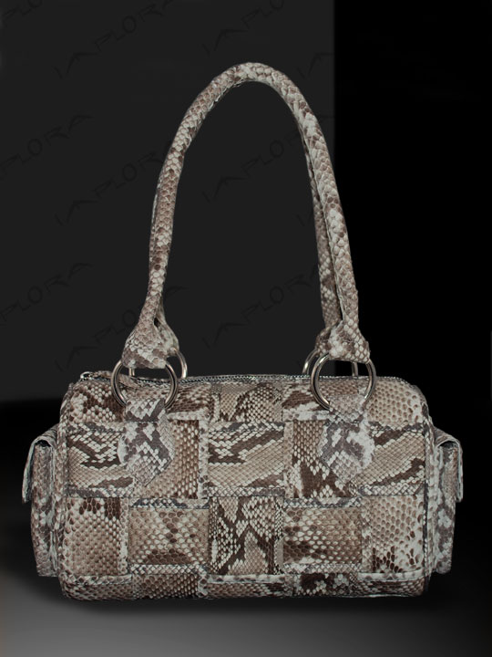 Leather Implora Natural Python Skin Woven Satchel Bag